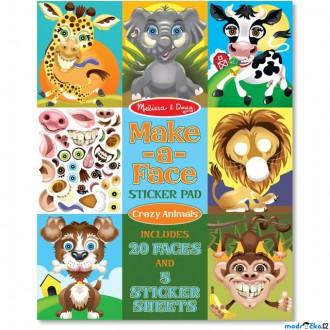 Ostatní hračky - Samolepky - Vytvoř obličej, Crazy zvířata, 170ks (M&D)