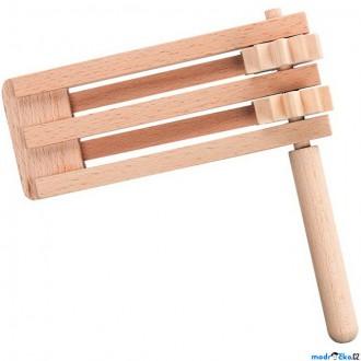 Dřevěné hračky - Hudba - Řehtačka dřevěná dvojitá (Goki)