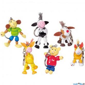 Dřevěné hračky - Přívěšek na klíče - Dřevěná zvířátka, 1ks (Goki)