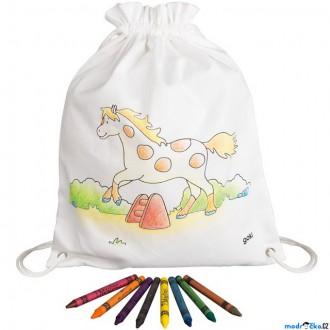 Ostatní hračky - Malování na textil - Pytlík baťůžek + voskovky, Kůň (Goki)