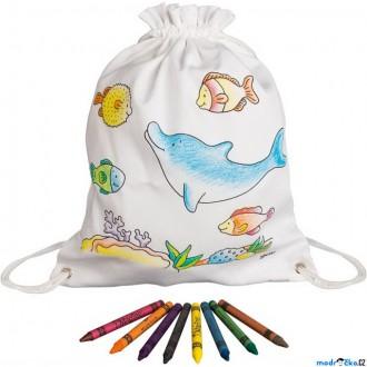 Ostatní hračky - Malování na textil - Pytlík baťůžek + voskovky, Mořská zvířata (Goki)