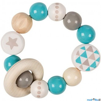 Pro nejmenší - Chrastítko - Kroužek korálkový, Tyrkysový s hvězdou (Heimess)