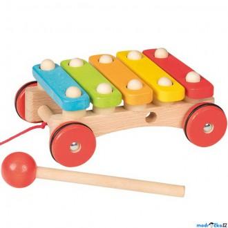 Dřevěné hračky - Hudba - Xylofon, Tahací na kolečkách (Goki)