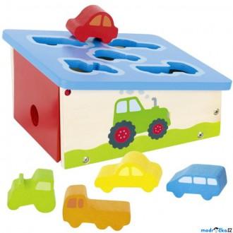 Dřevěné hračky - Vhazovačka - Vkládací garáž s autíčky (Goki)