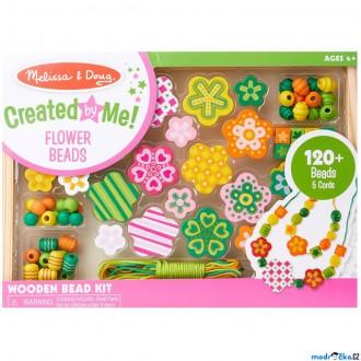 Dřevěné hračky - Navlékací perle - Set korálků, Květiny 120ks (M&D)