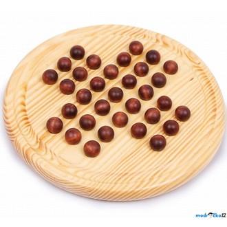 Puzzle a hlavolamy - Hlavolam dřevěný - Solitér přírodní kuličkový (Legler)