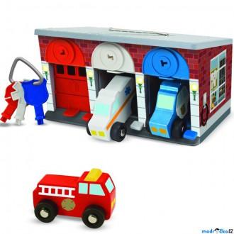 Dřevěné hračky - Garáž dřevěná - Se zámky a autíčky (M&D)