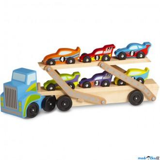 Dřevěné hračky - Auto - Tahač patrový se 6 závodními auty (M&D)