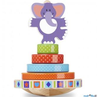 Dřevěné hračky - Skládačka s kroužky - Kolébací slon (M&D)