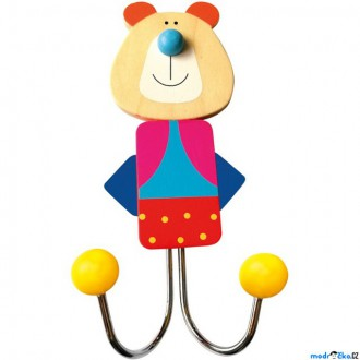 Dřevěné hračky - Věšák dřevěný - Dvojvěšák, Medvěd (Bino)