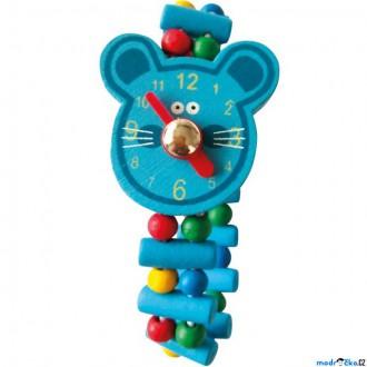 Dřevěné hračky - Dřevěná bižuterie - Hodinky myš (Bino)