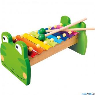 Dřevěné hračky - Hudba - Xylofon 8 tónů, Kovový žabka (Bino)