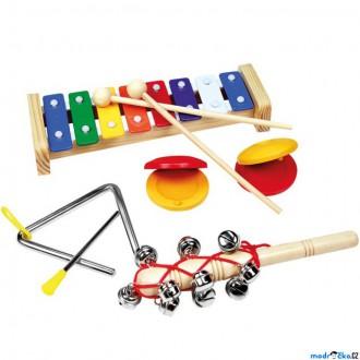 Dřevěné hračky - Hudba - Muzikální set s trianglem, 4 nástroje (Bino)