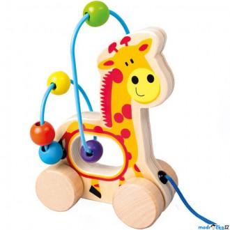 Dřevěné hračky - Zvířátko na kolečkách - Drátěný labyrint žirafa (Bino)