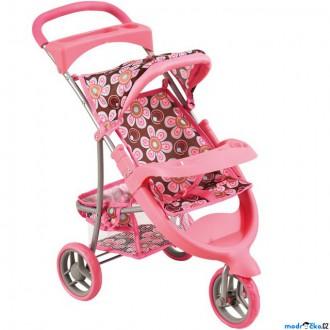Dřevěné hračky - Kočárek pro panenky - Tříkolka skládací, růžový (Bino)