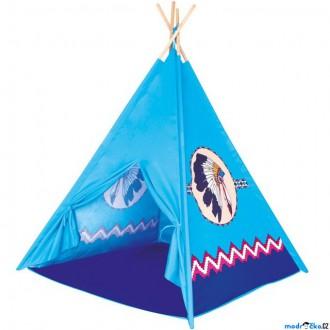 Na ven a sport - Indiánský stan - Dětské Teepee, modrý (Bino)