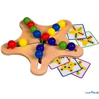 Dřevěné hračky - Motorický labyrint - Hlavolam s kuličkami, Hvězda (Bino)