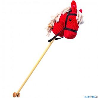 Dřevěné hračky - Koňská hlava na tyči - Červený manšester se zvuky (Bino)