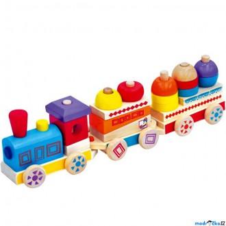 Dřevěné hračky - Vlak skládací - Barevný dřevěný vláček MAXI (Bino)