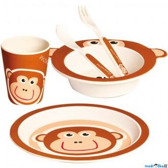 Pro nejmenší - Dětské nádobí z bambusu - Set 5 dílů, Opička (Mertens)