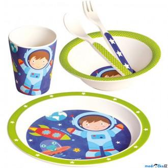 Pro nejmenší - Dětské nádobí z bambusu - Set 5 dílů, Astronaut (Mertens)