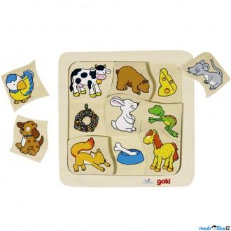 Puzzle a hlavolamy - Puzzle výukové - Co jedí zvířátka (Goki)