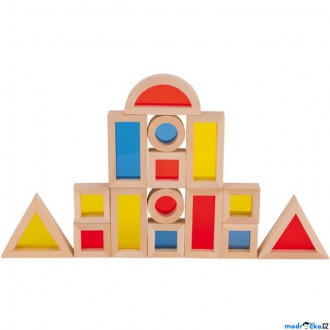 Stavebnice - Kostky - S průhledy, Okna geometrické tvary, 21ks (Goki)