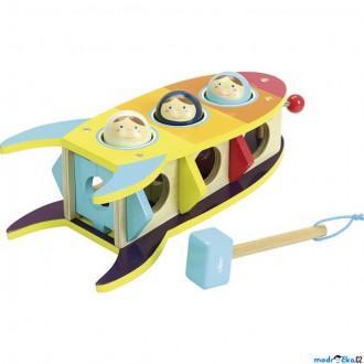Dřevěné hračky - Zatloukačka - Dřevěná raketa s koulemi (Vilac)