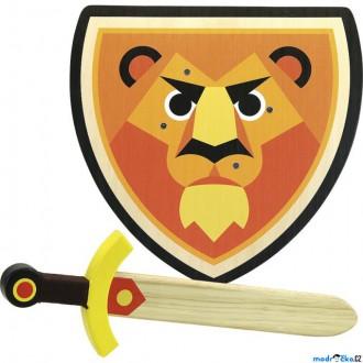 Dřevěné hračky - Dětská zbraň - Dřevěný štít a meč Lev (Vilac)