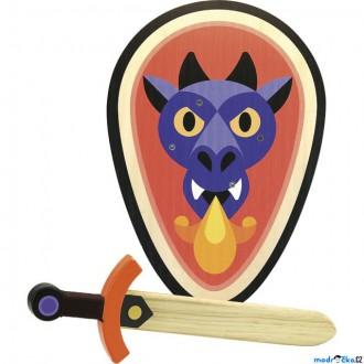 Dřevěné hračky - Dětská zbraň - Dřevěný štít a meč Drak (Vilac)