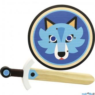 Dřevěné hračky - Dětská zbraň - Dřevěný štít a meč Vlk (Vilac)