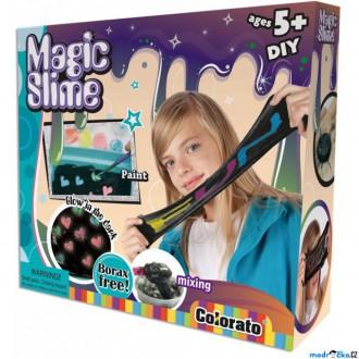Dřevěné hračky - Výtvarná sada box - Magický sliz + barvy svítící ve tmě