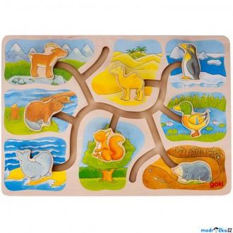 Dřevěné hračky - Motorický labyrint - Kdo kde bydlí (Goki)