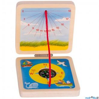 Na ven a sport - Dětský kompas - Sluneční hodiny dřevěné (Goki)