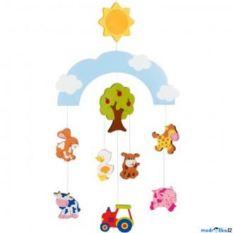 Dřevěné hračky - Kolotoč závěsný dřevěný - Farma (Goki)