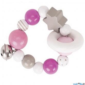 Pro nejmenší - Chrastítko - Kroužek korálkový, Růžový s hvězdou (Heimess)