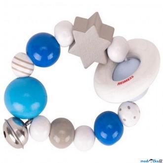Pro nejmenší - Chrastítko - Kroužek korálkový, Modrý s hvězdou (Heimess)