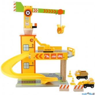 Dřevěné hračky - Garáž dřevěná - Parkoviště s jeřábem (Legler)