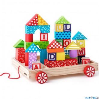 Stavebnice - Kostky - Barevné ve vozíku, ABC razítka, 36ks (Woody)