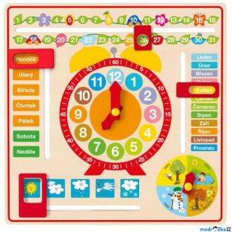 Dřevěné hračky - Hodiny - Víceúčelový kalendář s hodinami (Woody)