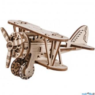 Stavebnice - 3D mechanický model - Letadlo dvojplošník (Wooden City)