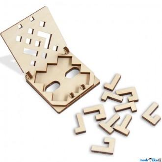 Puzzle a hlavolamy - Hlavolam dřevěný - Cestovní mini hra, Snake puzzle (Wooden City)