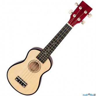 Dřevěné hračky - Hudba - Kytara Ukulele, Přírodní, 4 struny (Goki)