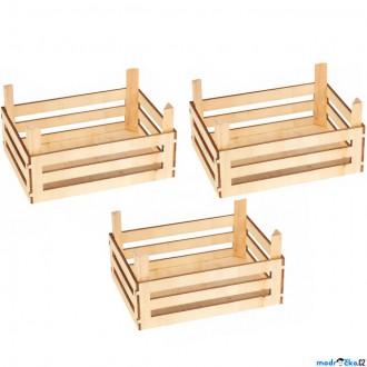 Dřevěné hračky - Dekorace prodejny - Dřevěné přepravky, 3ks (Goki)