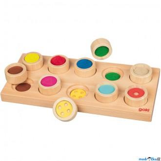 Dřevěné hračky - Didaktická pomůcka - Hmatová hra na desce, 10 dílů (Goki)
