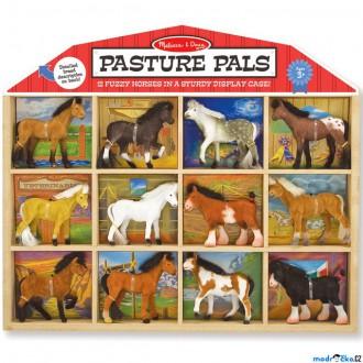 Dřevěné hračky - Zvířátka - Set sametových zvířat, Koně 12ks (M&D)