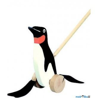 Dřevěné hračky - Jezdík na tyči - Plácačka, Tučňák černobílý (Bino)