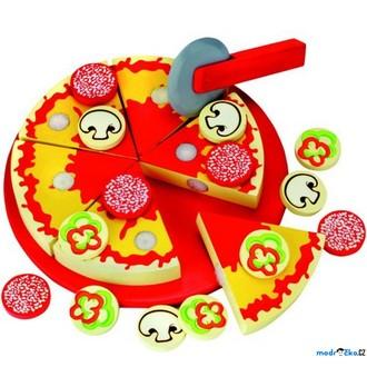 Dřevěné hračky - Krájení - Pizza na prkénku (Bino)