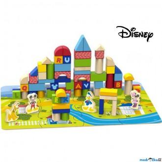 Stavebnice - Kostky - Barevné v kyblíku, Vhazovačka, 92ks (Disney Derrson)