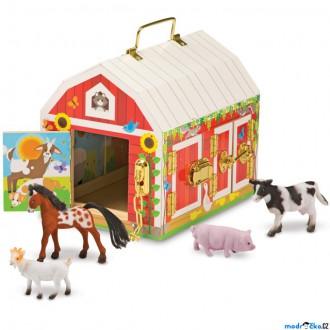 Dřevěné hračky - Stáj dřevěná - Stodola se zámky a zvířátky (M&D)